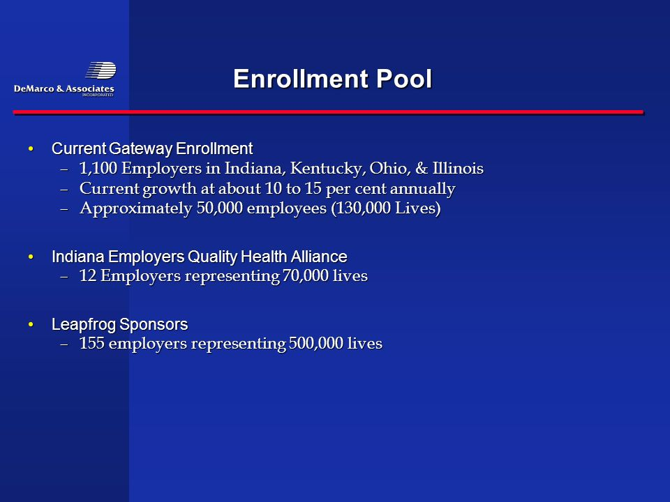 Enrollment Pool Current Gateway EnrollmentCurrent Gateway Enrollment –1,100 Employers in Indiana, Kentucky, Ohio, & Illinois –Current growth at about