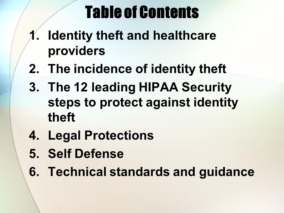 Table of Contents 1.Identity theft and healthcare providers 2.The incidence of identity theft 3.The 12 leading HIPAA Security steps to protect against