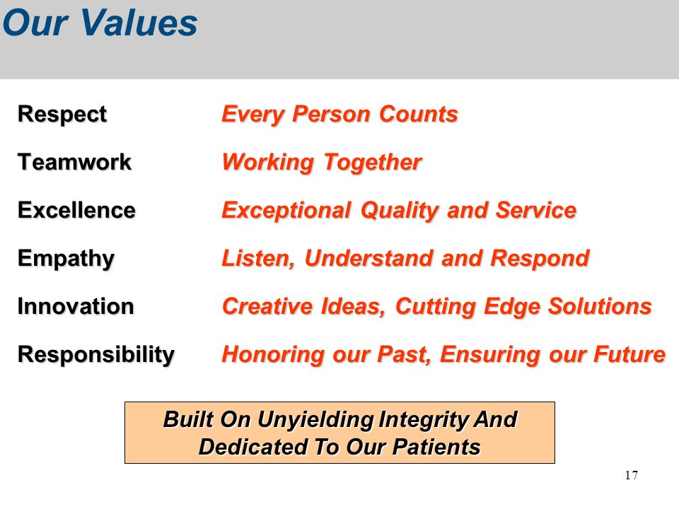 17 Our Values RespectEvery Person Counts Respect Every Person Counts TeamworkWorking Together ExcellenceExceptional Quality and Service EmpathyListen,