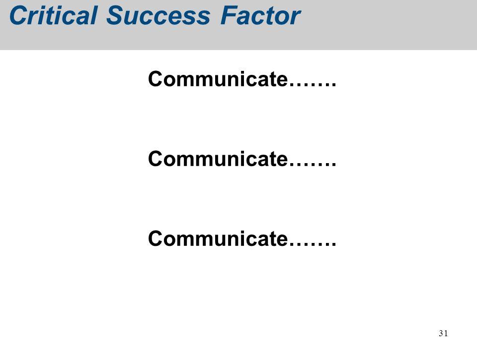 31 Critical Success Factor Communicate…….