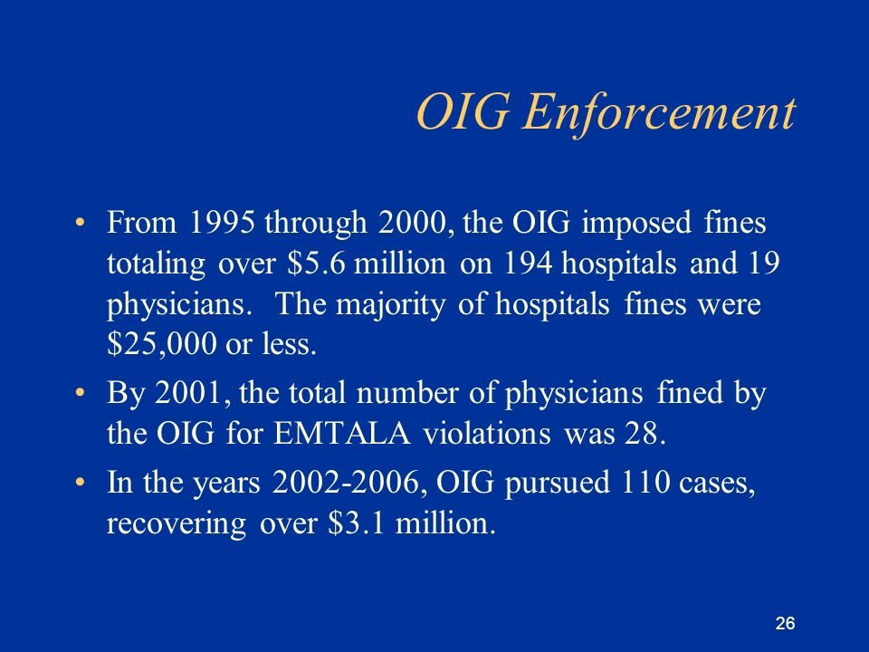 26 OIG Enforcement From 1995 through 2000, the OIG imposed fines totaling over $5.6 million on 194 hospitals and 19 physicians.