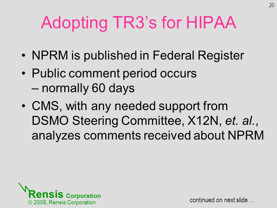 Rensis Corporation © 2005, Rensis Corporation NPRM is published in Federal Register Public comment period occurs – normally 60 days CMS, with any needed support from DSMO Steering Committee, X12N, et.