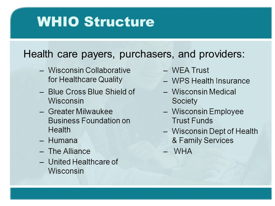 WHIO Structure –Wisconsin Collaborative for Healthcare Quality –Blue Cross Blue Shield of Wisconsin –Greater Milwaukee Business Foundation on Health –Humana –The Alliance –United Healthcare of Wisconsin –WEA Trust –WPS Health Insurance –Wisconsin Medical Society –Wisconsin Employee Trust Funds –Wisconsin Dept of Health & Family Services – WHA Health care payers, purchasers, and providers:
