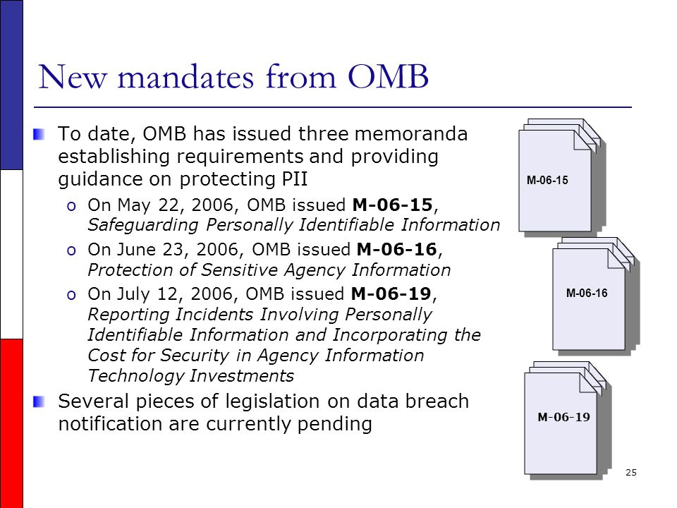 25 New mandates from OMB To date, OMB has issued three memoranda establishing requirements and providing guidance on protecting PII oOn May 22, 2006, OMB issued M-06-15, Safeguarding Personally Identifiable Information oOn June 23, 2006, OMB issued M-06-16, Protection of Sensitive Agency Information oOn July 12, 2006, OMB issued M-06-19, Reporting Incidents Involving Personally Identifiable Information and Incorporating the Cost for Security in Agency Information Technology Investments Several pieces of legislation on data breach notification are currently pending M-06-15 M-06-16 M-06-19