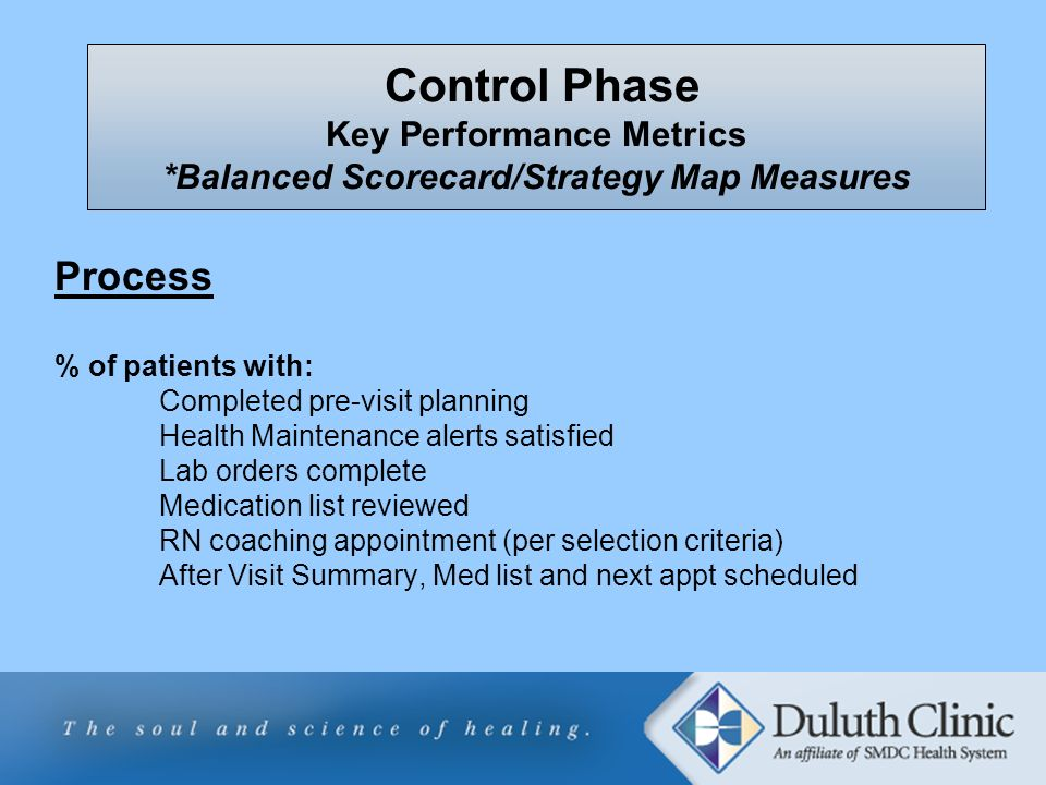 Process % of patients with: Completed pre-visit planning Health Maintenance alerts satisfied Lab orders complete Medication list reviewed RN coaching