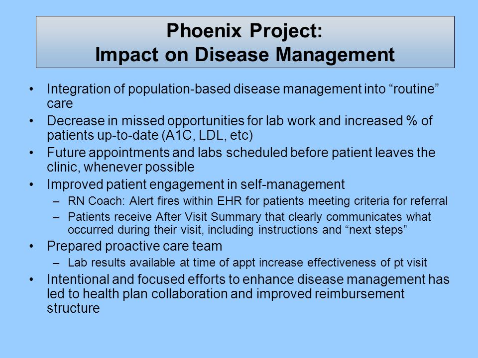 Phoenix Project: Impact on Disease Management Integration of population-based disease management into routine care Decrease in missed opportunities fo