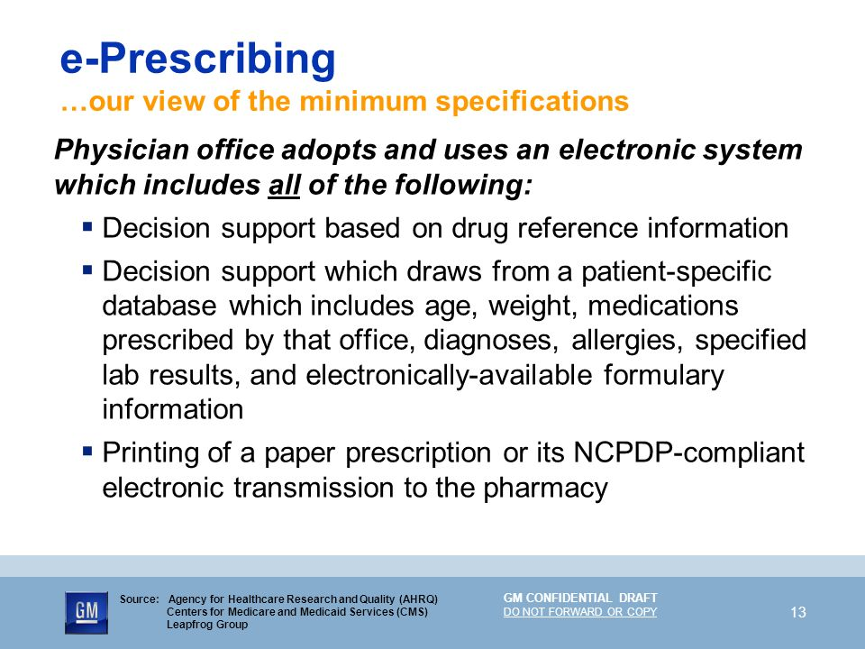 GM CONFIDENTIAL DRAFT DO NOT FORWARD OR COPY 13 e-Prescribing …our view of the minimum specifications Physician office adopts and uses an electronic s