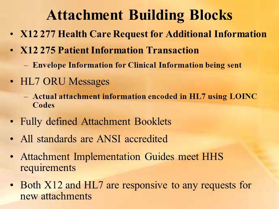 Attachment Building Blocks X12 277 Health Care Request for Additional Information X12 275 Patient Information Transaction –Envelope Information for Cl