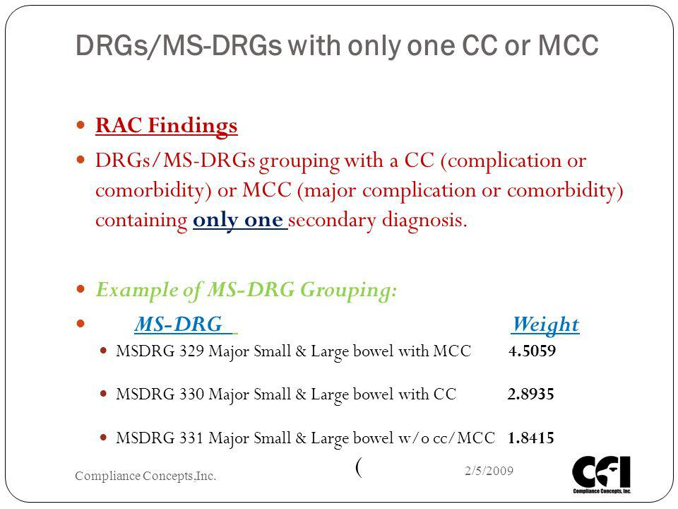 DRGs/MS-DRGs with only one CC or MCC RAC Findings DRGs/MS-DRGs grouping with a CC (complication or comorbidity) or MCC (major complication or comorbid