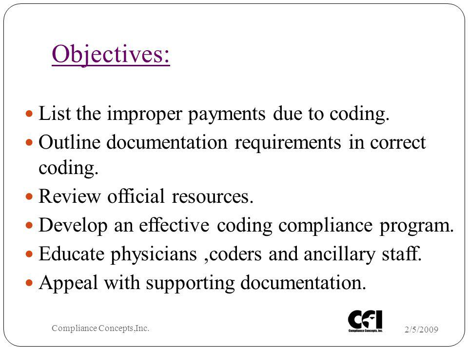 Objectives: List the improper payments due to coding. Outline documentation requirements in correct coding. Review official resources. Develop an effe