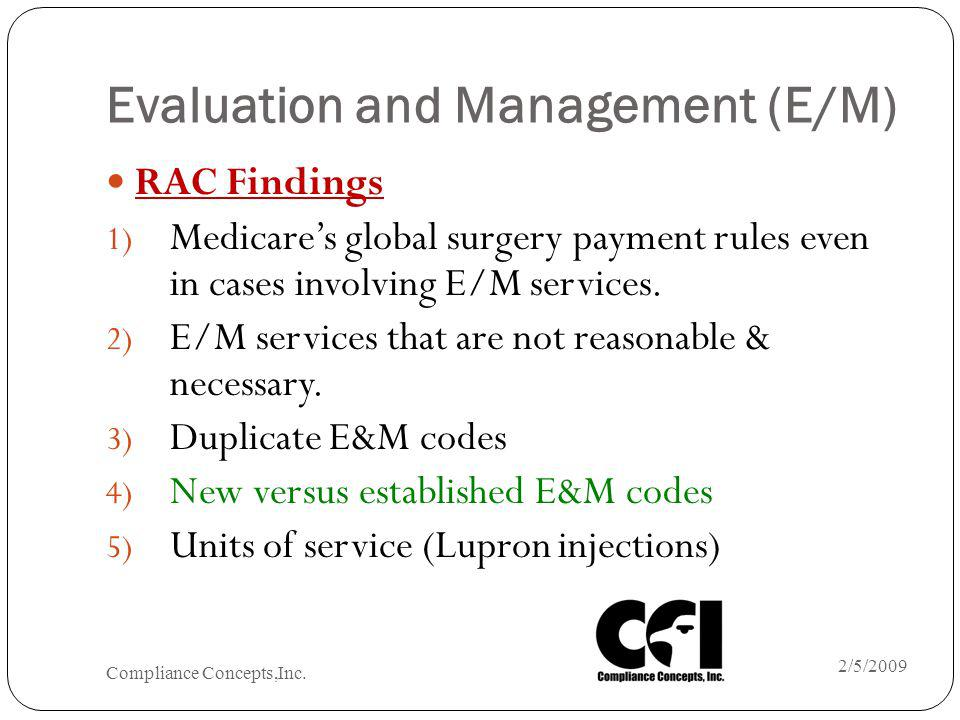 Evaluation and Management (E/M) RAC Findings 1) Medicares global surgery payment rules even in cases involving E/M services. 2) E/M services that are