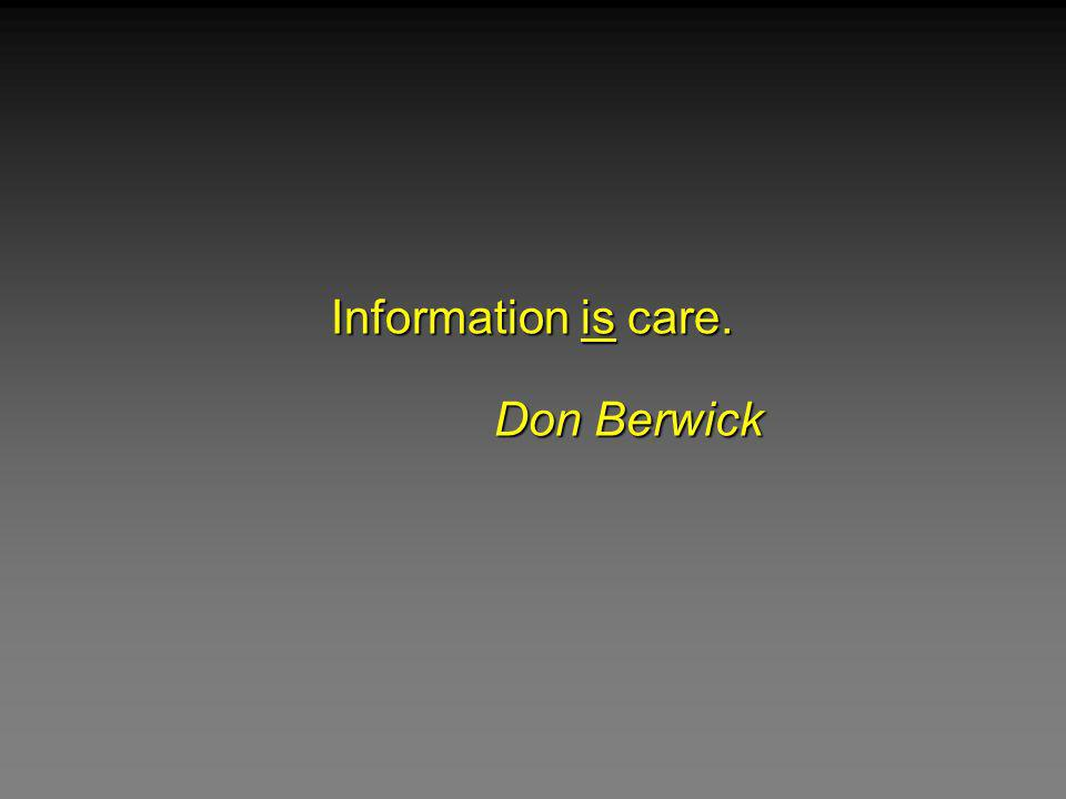 Information is care. Don Berwick