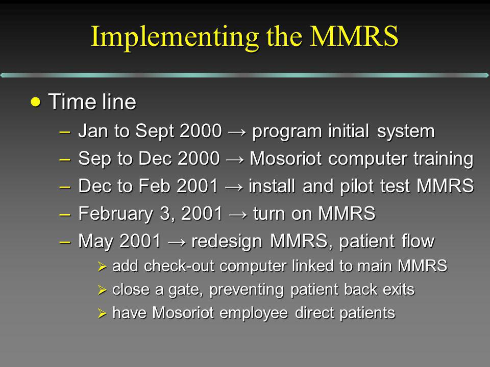 Implementing the MMRS Time line Time line –Jan to Sept 2000 program initial system –Sep to Dec 2000 Mosoriot computer training –Dec to Feb 2001 instal