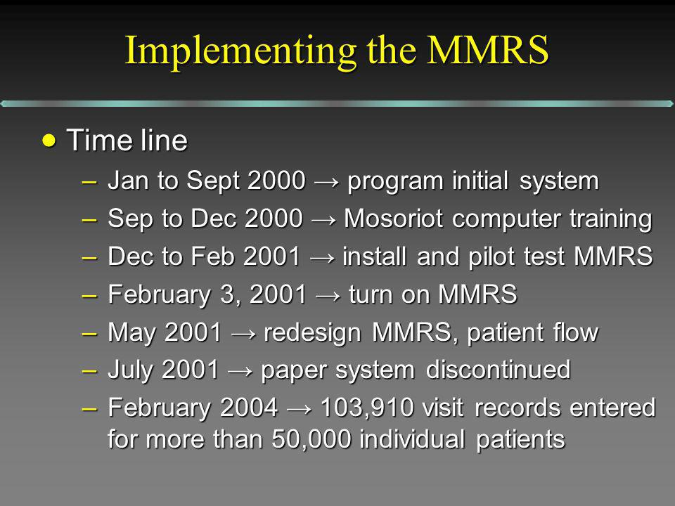 Implementing the MMRS Time line Time line –Jan to Sept 2000 program initial system –Sep to Dec 2000 Mosoriot computer training –Dec to Feb 2001 install and pilot test MMRS –February 3, 2001 turn on MMRS –May 2001 redesign MMRS, patient flow –July 2001 paper system discontinued –February ,910 visit records entered for more than 50,000 individual patients