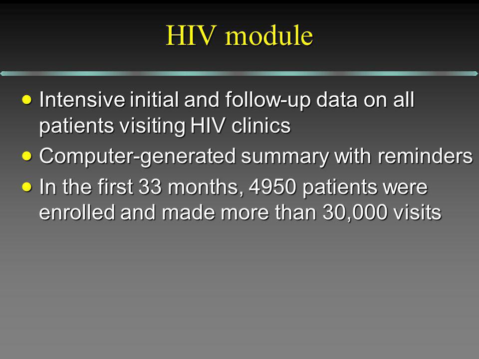 HIV module Intensive initial and follow-up data on all patients visiting HIV clinics Intensive initial and follow-up data on all patients visiting HIV clinics Computer-generated summary with reminders Computer-generated summary with reminders In the first 33 months, 4950 patients were enrolled and made more than 30,000 visits In the first 33 months, 4950 patients were enrolled and made more than 30,000 visits