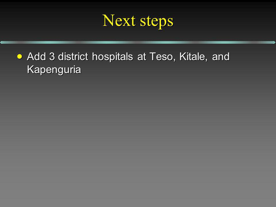 Next steps Add 3 district hospitals at Teso, Kitale, and Kapenguria Add 3 district hospitals at Teso, Kitale, and Kapenguria