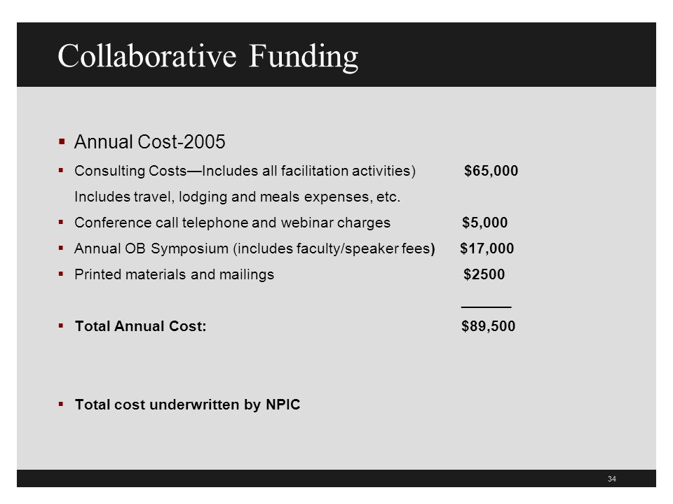 34 Collaborative Funding Annual Cost-2005 Consulting CostsIncludes all facilitation activities) $65,000 Includes travel, lodging and meals expenses, etc.