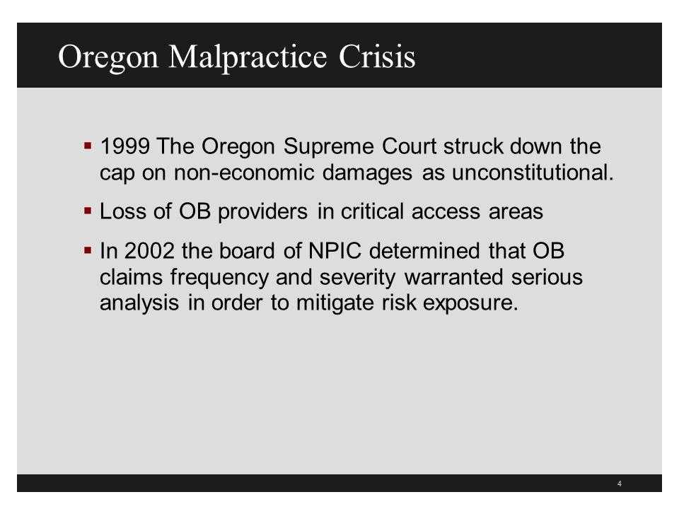 4 Oregon Malpractice Crisis 1999 The Oregon Supreme Court struck down the cap on non-economic damages as unconstitutional.