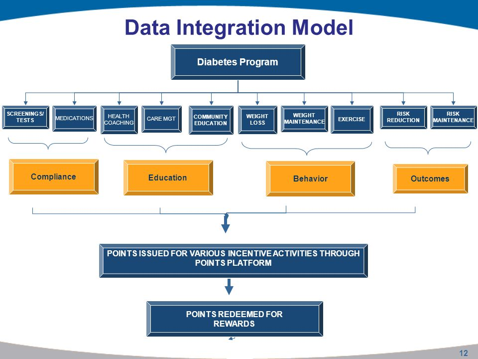 12 Data Integration Model SCREENINGS/ TESTS Diabetes Program MEDICATIONS HEALTH COACHING WEIGHT LOSS COMMUNITY EDUCATION WEIGHT MAINTENANCE EXERCISE CARE MGT RISK REDUCTION RISK MAINTENANCE POINTS ISSUED FOR VARIOUS INCENTIVE ACTIVITIES THROUGH POINTS PLATFORM POINTS REDEEMED FOR REWARDS Compliance Outcomes Behavior Education