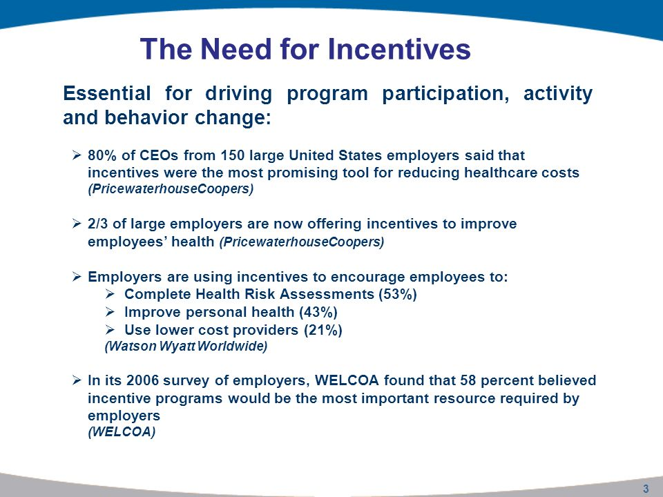 14 The Incentives Standard Different incentives have varying influence on participation IncentivesPreventive CareExerciseDiet Key Levers Discounts (Health Care Premiums) Above the $200 threshold Greatest impact above $200 Impact is always less than cash Cash Above the $200 threshold Avoid levels below $100 Above the $200 threshold Avoid levels below $100 Greatest impact above $100 Non-monetary Incentives Above $50 threshold Raffles can have impact than cash below $100 Avoid levels below $100 Gift cards have a greater impact than discounts below $100 Penalties* Miniscule impact Co-payment increases -- * The analysis of the impact of penalties on exercise and diet failed to meet traditional levels of statistical significance.