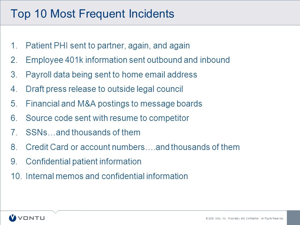 © 2006 Vontu, Inc. Proprietary and Confidential. All Rights Reserved. Top 10 Most Frequent Incidents 1.Patient PHI sent to partner, again, and again 2