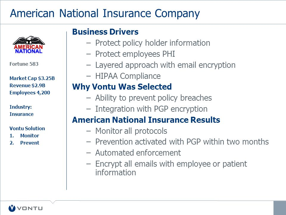 American National Insurance Company Business Drivers –Protect policy holder information –Protect employees PHI –Layered approach with email encryption –HIPAA Compliance Why Vontu Was Selected –Ability to prevent policy breaches –Integration with PGP encryption American National Insurance Results –Monitor all protocols –Prevention activated with PGP within two months –Automated enforcement –Encrypt all emails with employee or patient information Fortune 583 Market Cap $3.25B Revenue $2.9B Employees 4,200 Industry: Insurance Vontu Solution 1.Monitor 2.Prevent