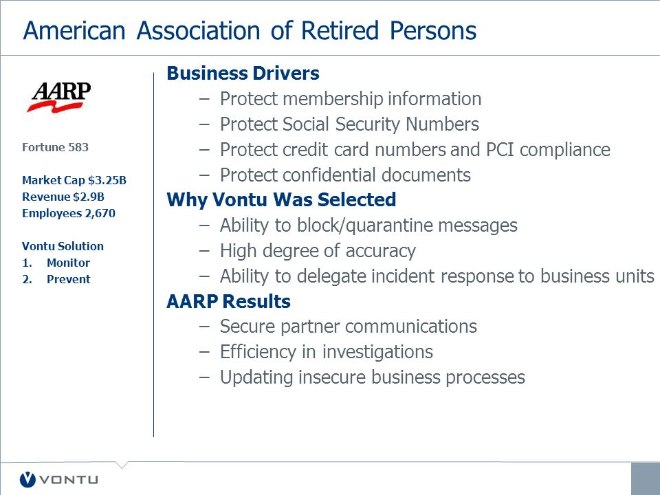 American Association of Retired Persons Business Drivers –Protect membership information –Protect Social Security Numbers –Protect credit card numbers and PCI compliance –Protect confidential documents Why Vontu Was Selected –Ability to block/quarantine messages –High degree of accuracy –Ability to delegate incident response to business units AARP Results –Secure partner communications –Efficiency in investigations –Updating insecure business processes Fortune 583 Market Cap $3.25B Revenue $2.9B Employees 2,670 Vontu Solution 1.Monitor 2.Prevent