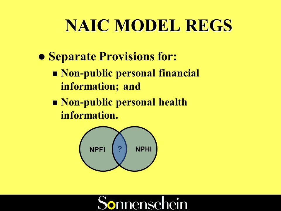 GLBA - Impact on States l To date: n 23 States have enacted NAIC Model Privacy Regulation which meets GLBA standards n 13 States have enacted the financial, but not health, provisions of the NAIC Model Privacy Regulation n 13 States have retained the NAICs 1982 Model Act
