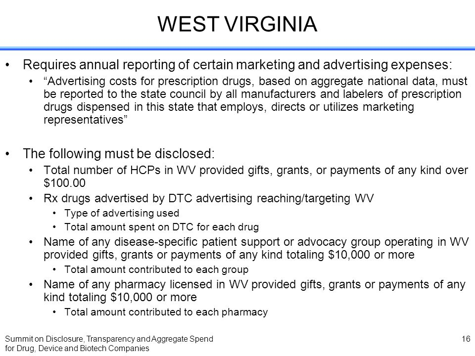 Summit on Disclosure, Transparency and Aggregate Spend for Drug, Device and Biotech Companies 16 WEST VIRGINIA Requires annual reporting of certain ma