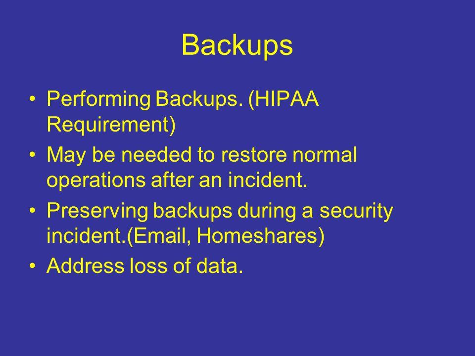 Backups Performing Backups.