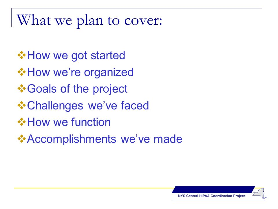 What we plan to cover: How we got started How were organized Goals of the project Challenges weve faced How we function Accomplishments weve made