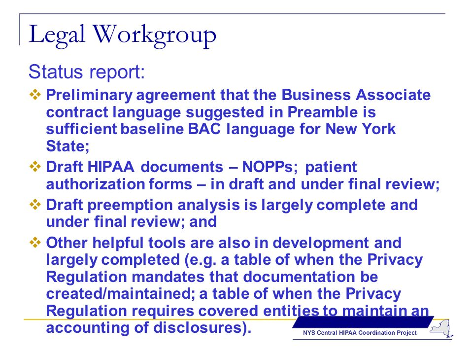 Legal Workgroup Status report: Preliminary agreement that the Business Associate contract language suggested in Preamble is sufficient baseline BAC language for New York State; Draft HIPAA documents – NOPPs; patient authorization forms – in draft and under final review; Draft preemption analysis is largely complete and under final review; and Other helpful tools are also in development and largely completed (e.g.