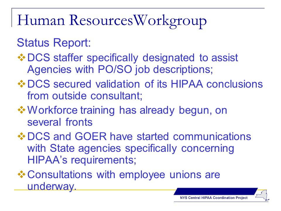 Human ResourcesWorkgroup Status Report: DCS staffer specifically designated to assist Agencies with PO/SO job descriptions; DCS secured validation of its HIPAA conclusions from outside consultant; Workforce training has already begun, on several fronts DCS and GOER have started communications with State agencies specifically concerning HIPAAs requirements; Consultations with employee unions are underway.