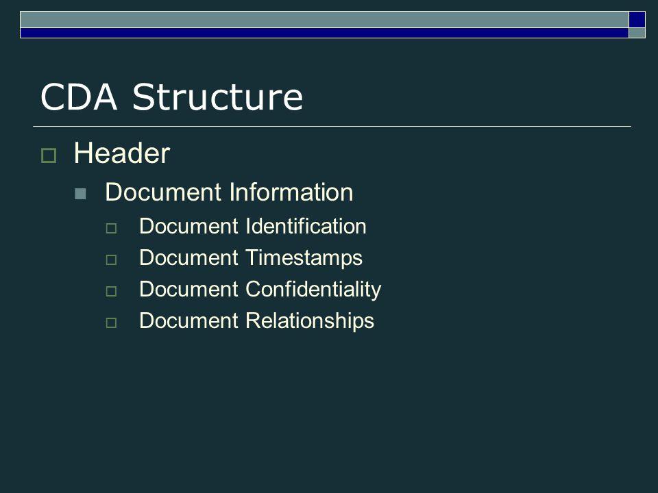 CDA Structure Header Document Information Document Identification Document Timestamps Document Confidentiality Document Relationships