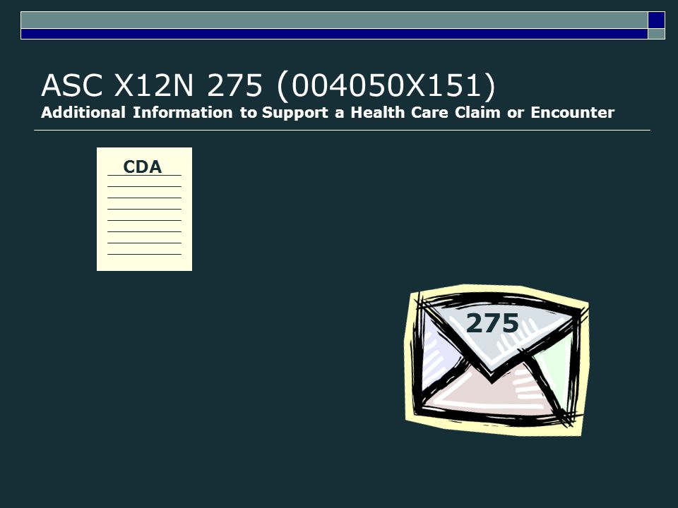CDA ASC X12N 275 ( 004050X151) Additional Information to Support a Health Care Claim or Encounter 275