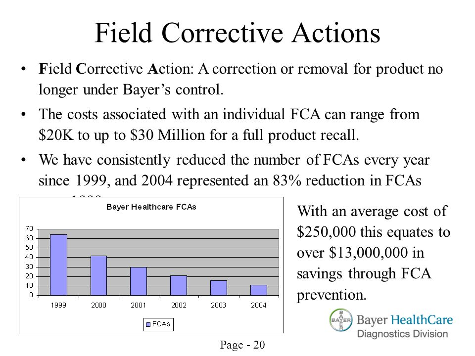 Page - 20 Field Corrective Actions Field Corrective Action: A correction or removal for product no longer under Bayers control. The costs associated w