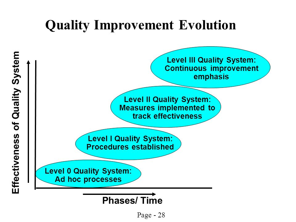 Page - 28 Effectiveness of Quality System Phases/ Time Level I Quality System: Procedures established Level 0 Quality System: Ad hoc processes Level I