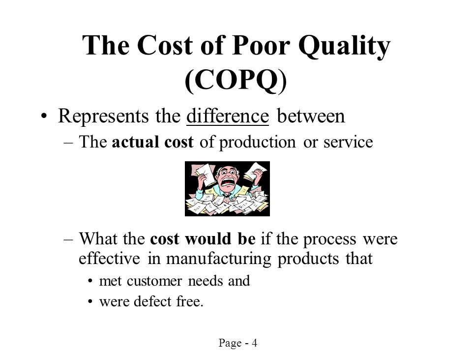 Page - 4 The Cost of Poor Quality (COPQ) Represents the difference between –The actual cost of production or service –What the cost would be if the pr