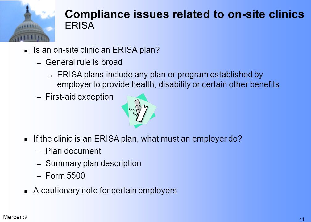 Compliance Issues Related to On-site Clinics