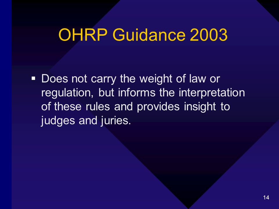 14 OHRP Guidance 2003 Does not carry the weight of law or regulation, but informs the interpretation of these rules and provides insight to judges and juries.