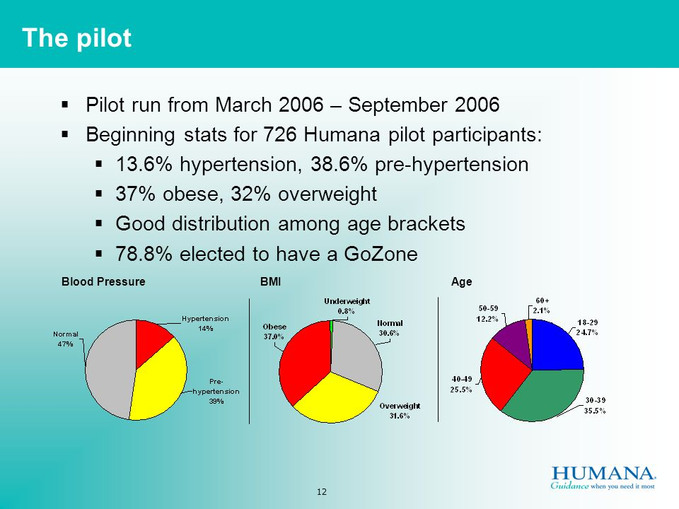 12 The pilot Pilot run from March 2006 – September 2006 Beginning stats for 726 Humana pilot participants: 13.6% hypertension, 38.6% pre-hypertension 37% obese, 32% overweight Good distribution among age brackets 78.8% elected to have a GoZone Blood PressureBMIAge