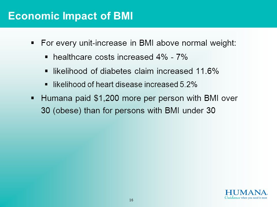 16 For every unit-increase in BMI above normal weight: healthcare costs increased 4% - 7% likelihood of diabetes claim increased 11.6% likelihood of heart disease increased 5.2% Humana paid $1,200 more per person with BMI over 30 (obese) than for persons with BMI under 30 Economic Impact of BMI
