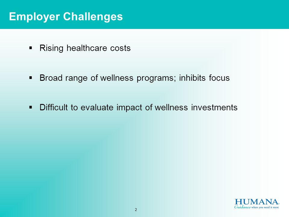 2 Rising healthcare costs Broad range of wellness programs; inhibits focus Difficult to evaluate impact of wellness investments Employer Challenges