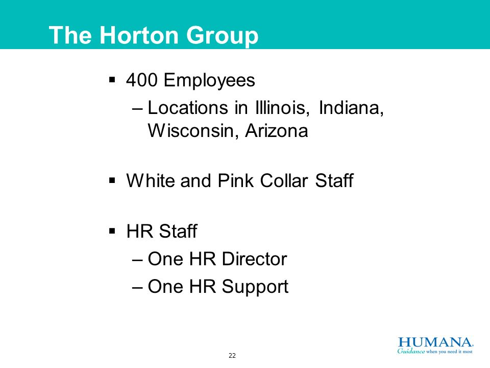 22 The Horton Group 400 Employees –Locations in Illinois, Indiana, Wisconsin, Arizona White and Pink Collar Staff HR Staff –One HR Director –One HR Support