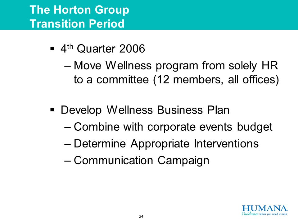 24 The Horton Group Transition Period 4 th Quarter 2006 –Move Wellness program from solely HR to a committee (12 members, all offices) Develop Wellness Business Plan –Combine with corporate events budget –Determine Appropriate Interventions –Communication Campaign