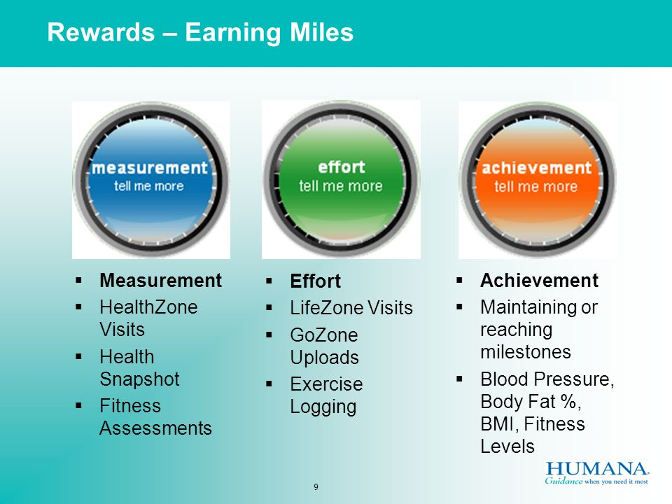 9 Measurement HealthZone Visits Health Snapshot Fitness Assessments Effort LifeZone Visits GoZone Uploads Exercise Logging Achievement Maintaining or reaching milestones Blood Pressure, Body Fat %, BMI, Fitness Levels Rewards – Earning Miles