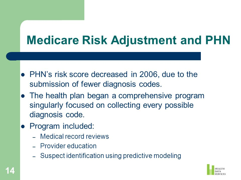 14 Medicare Risk Adjustment and PHN PHNs risk score decreased in 2006, due to the submission of fewer diagnosis codes. The health plan began a compreh