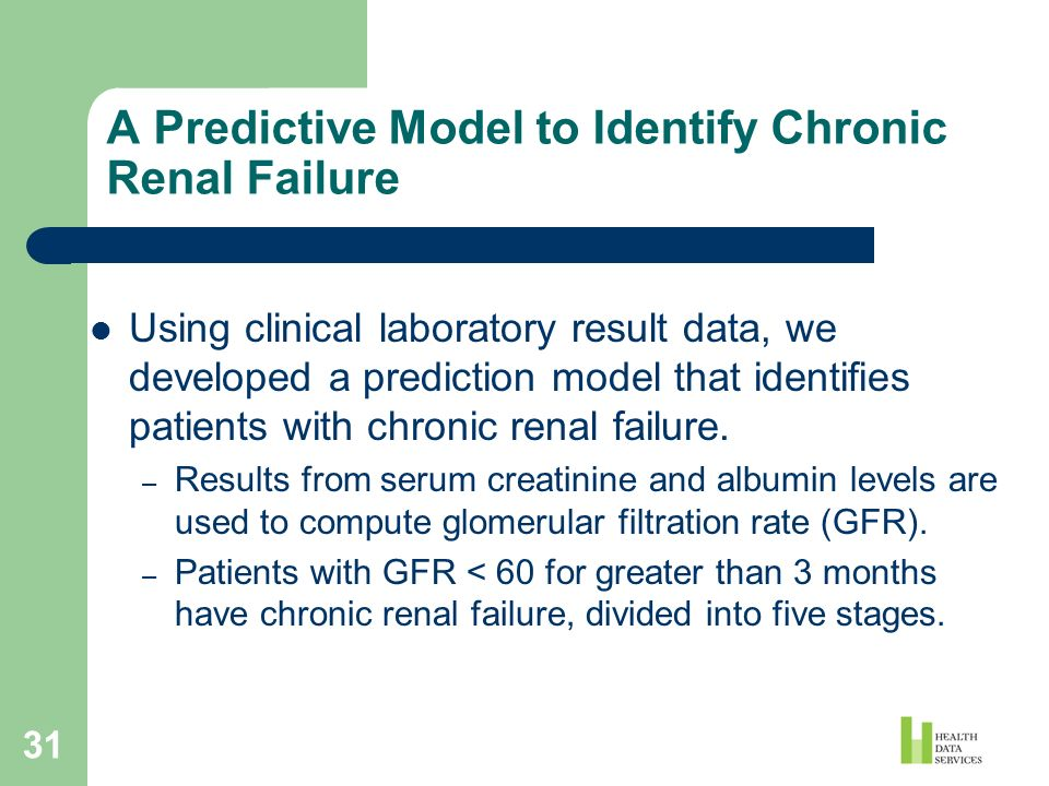31 A Predictive Model to Identify Chronic Renal Failure Using clinical laboratory result data, we developed a prediction model that identifies patient