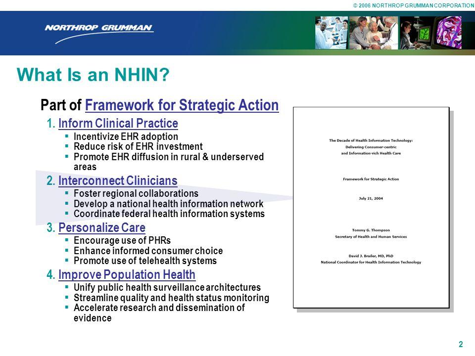© 2006 NORTHROP GRUMMAN CORPORATION 1 Outline for this Talk NHIN Architecture Prototype Program Northrop Grumman Team Biosurveillance Use Case