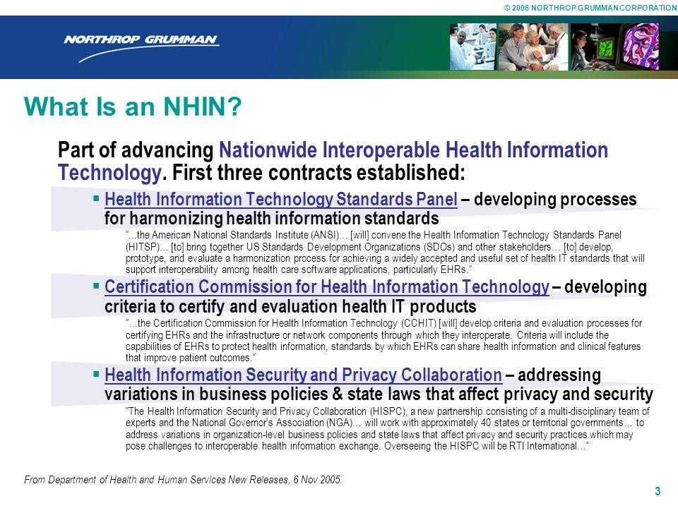 © 2006 NORTHROP GRUMMAN CORPORATION 2 What Is an NHIN? Part of Framework for Strategic Action 1.Inform Clinical Practice Incentivize EHR adoption Redu